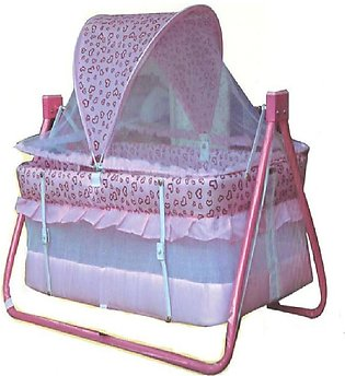 Baby Swing Cot & Cradle With Stand Support(Pink )