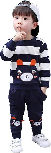 Kids Baby Boy Autumn Winter Clothes Set Striped Bear + Pants Outfits