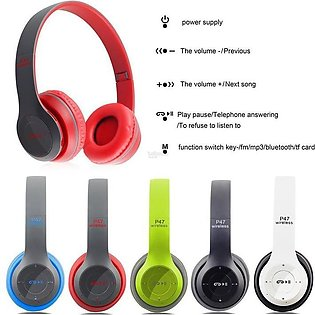 P47 Wireless Bluetooth Foldable Headphones With Microphone