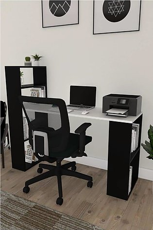 Decorative bookcase work table Office Desk with Storage Shelves and Hutch