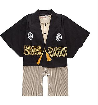Children's Wear Boy Long-sleeved One-piece Dress Hare Japanese Print Kimono