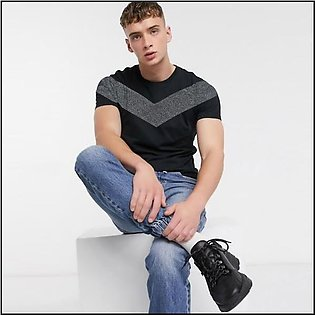 BLACK T-SHIRT WITH CONTRAST CHEST PANEL