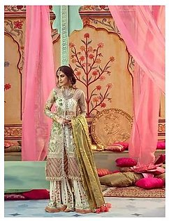 Crimson Collection Net Suit Heavy Embrioded Front With Two Panels Front Open Style With Fully Handwork - Replica - Unstitched