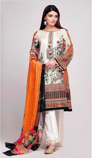 Khaadi Collection Lawn Suit With Chiffon Dupptta Neck Embroided - Replica - U...