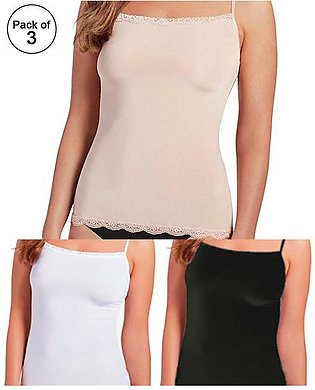 Pack of 3 - Cotton Lace Camisole For Women