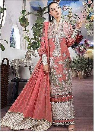 Sana Safinaz Collection Printed Lawn Front Back & Sleeves Embroidered Front P...