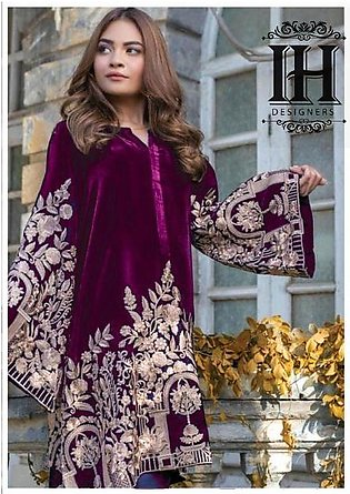 AGHA NOOR Full suit on velvet with net embroidered dupatta