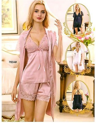 3 Pcs Sexy Slik Short Nighty With Gown - 7604