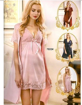 3 Pcs Sexy Slik Short Nighty With Gown - 7605
