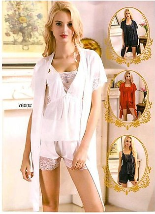 3 Pcs Sexy Slik Short Nighty With Gown - 7600