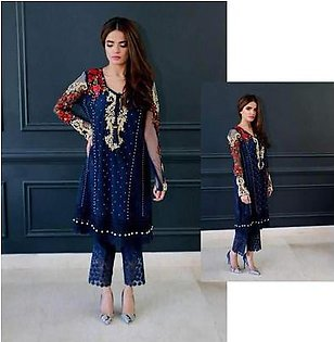 Mina Hasan Collection Chiffon EMB Front - Replica - Unstitched