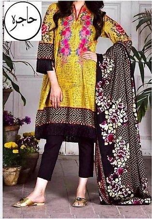 Khaadi Collection Full Suit On Lawn With Chiffon Printed Dupatta Neck Embroid...