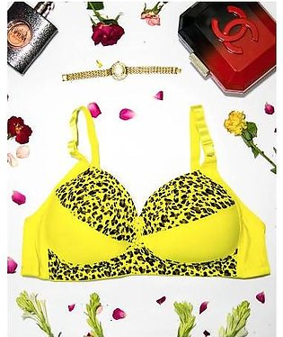 Sexy Cheetah Print Plus Size Bra - Yellow - Push Up Bra, Single Padded Bra