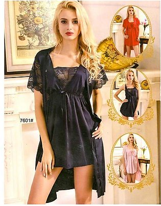Pcs Sexy Slik Short Nighty With Gown - 7601