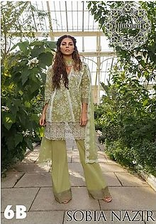Sobia Nazir Lawn Collection Net Dupatta Cambric Cotton Trouser - Replica - Unstitched