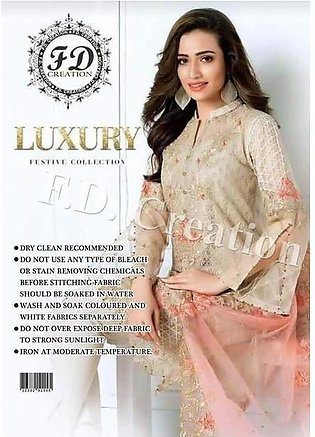Gul Ahmad Stuf Made On Net Full Heavy Embroided Front - Replica - Unstitched