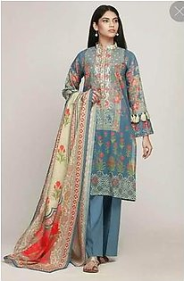 Party Dress Khaadi Fabric Lawn - Unstitched - Replica
