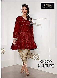 KROSS CULTURE Hit Code Available Now Full Cotton With Chiffon Dupatta.- Mehroon