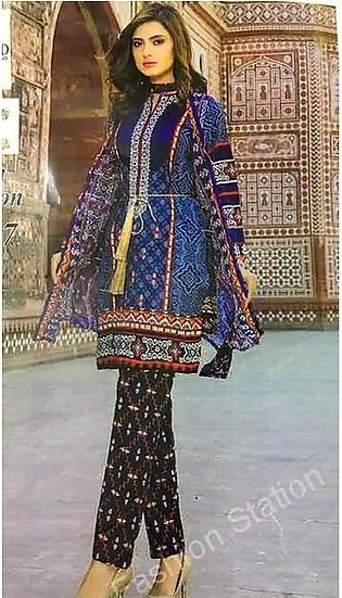 Maria B Collection Lawn Printed Front With Embroidered Neck - Replica - Unsti...