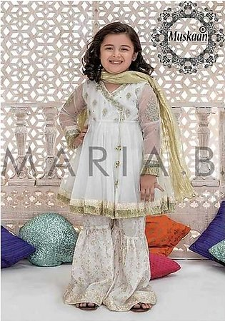 Maria B Kids Eid Collection-White Gold Replica - Unstitched