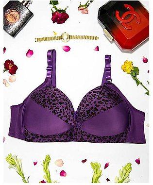Sexy Cheetah Print Plus Size Bra - Purple  Push Up Bra, Single Padded Bra