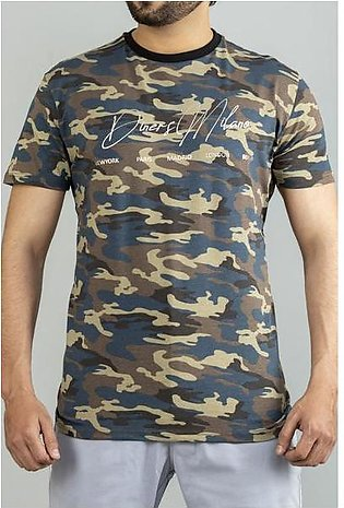 Diner's Men's Round Neck T-Shirt SKU: NA672-Blue