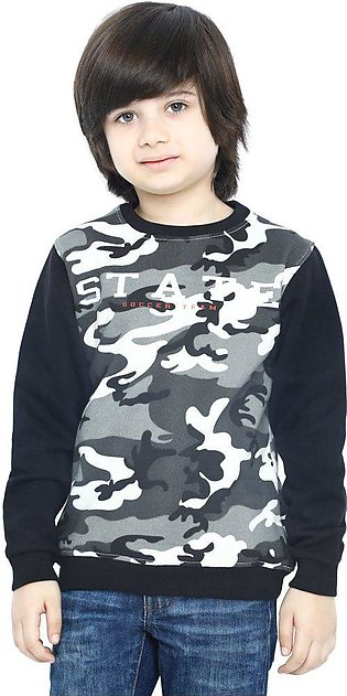 Boys Sweat Shirt In Black SKU: KBA-0272-BLACK