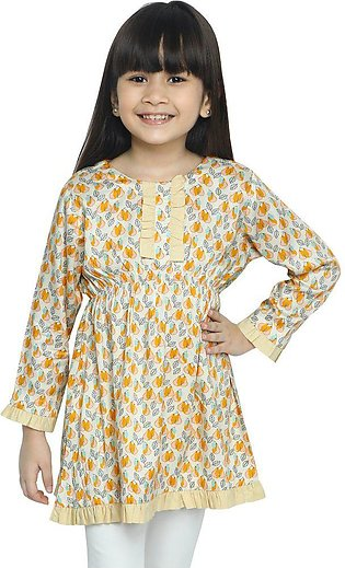 Girls Kurti in Beige SKU: KGKK-0190-BEIGE