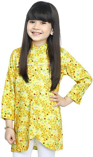 Girls Kurti in Yellow SKU: KGKK-0196-YELLOW