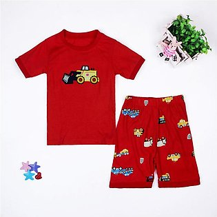 Children'S Summer Child Set Boy Car Short Sleeve Shorts Home Wear Two Sets Of C…