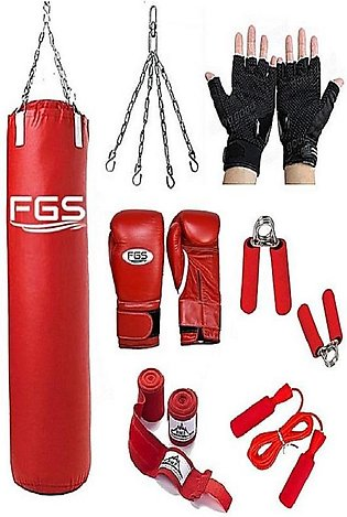 Pack Of 7 - 3Ft Boxing Punching Bag With Boxing Gloves, Chain, Skipping Jump Ro…