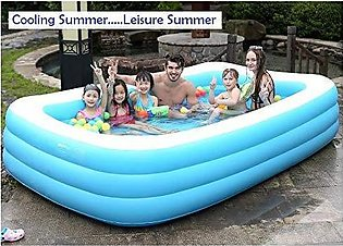 Bathtub 10 ft Inflatable Swimming Pool with Pump for Kids/Adults (Blue)