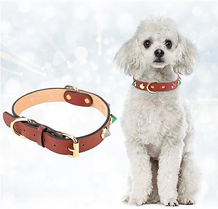 Artificial Leather Pet Adjustable Collar with Cute Pattern Decor for Small Dog …