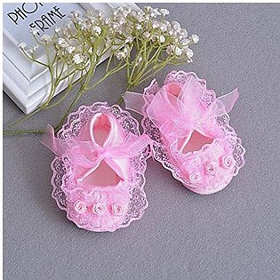 Baby Girls Shoes Lace Riband Floral Ruffles
