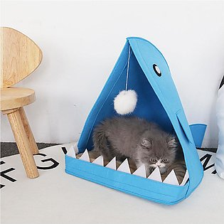 Cute Shark Shape House Removable Washable Dog Bed Comfortable Nest Mat for Pet …