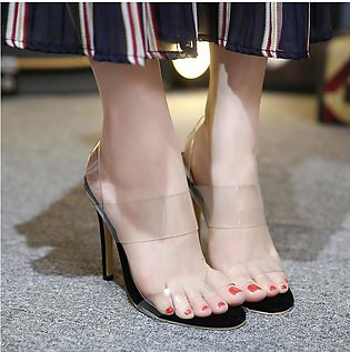 New Women Transparent Stiletto Strappy Crystal Shoes High Heel Clear Sandal BLA…