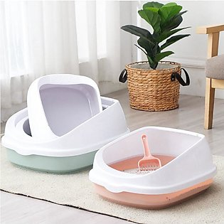 Pet Toilet Bedpan Anti Splash Cats Litter Box Cat Dog Tray with Scoop Kitten Do…