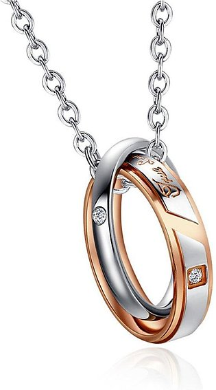 His & Hers Matching Set Titanium Stainless Steel Couple Pendant Necklace Ex205