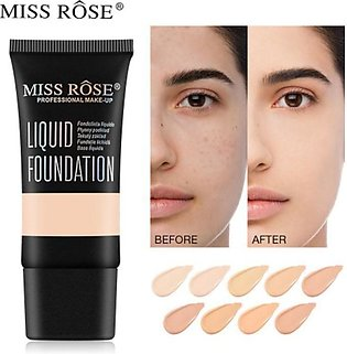 MISS ROSE 9 Colors Face Foundation Cream Waterproof Make Up Base Liquid Foundat…