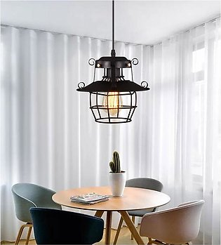 E27 Industrial Iron Hanging Cage Ceiling Light Home Bedroom Pendant Lamp Cover