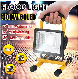 300W 60 LED Portable Flood Spot Light Lawn Work Flash Lamp Rechargeable Outdoor