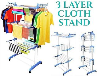 Cloth Stand Adjustable Spray Painted 3 Layers Cloth Hanger