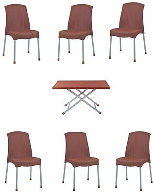 Rattan Plastic Chair without arm - Pack of 6 chairs