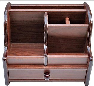 8013 - Wooden Pen Stand / Stationery Holder Organizer Container - Brown