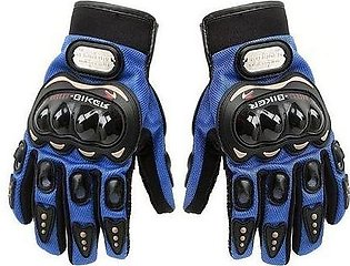 Motorbike Carbon Fiber Powersports Racing Gloves - Blue