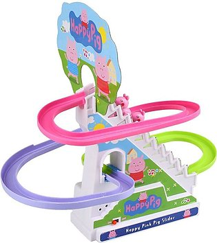 Pig Electric Climb Stairs Track Set Toy Christmas Gift Doll For Kid Child - intl