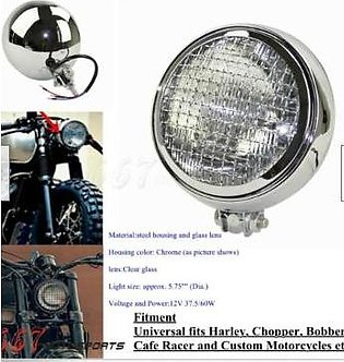 Retro Style Motorcycle Headlight for Harley Davidson Chopper Dyna -Chrome