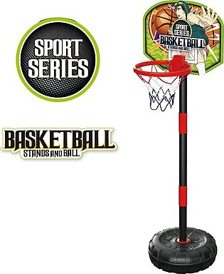 Sport Series - Junior Basketball Hoop Stand with Net and Ball - Adjustable