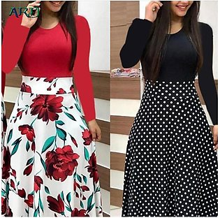 ARD Women Floral Long Sleeve Maxi Dress Ladies Casual Evening Party Dress Round…