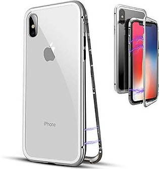 Magnetic Adsorption Case Metal Frame Tempered Glass Back with Built-in Magnet C…
